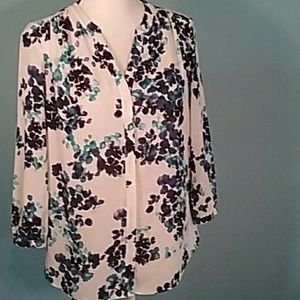 Nydj blouse floral turquoise button career blouse